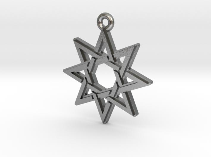 """Octagram 3.0"" Pendant, Cast Metal 3d printed"