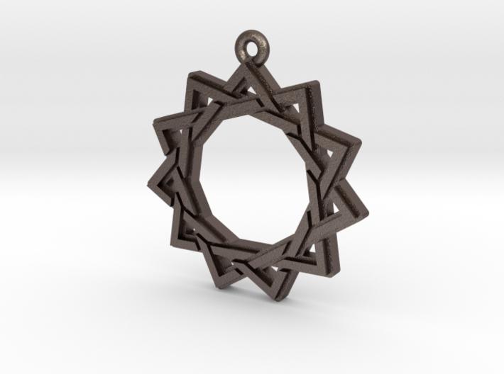 """""""Hendecagram 3.0"""" Pendant, Printed Metal 3d printed"""