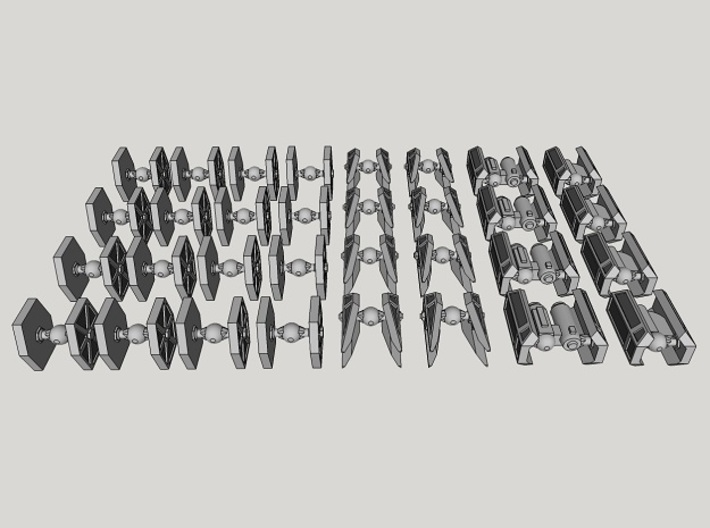 1:1000-scale Imperial Fighter Pack (32 pcs) 3d printed