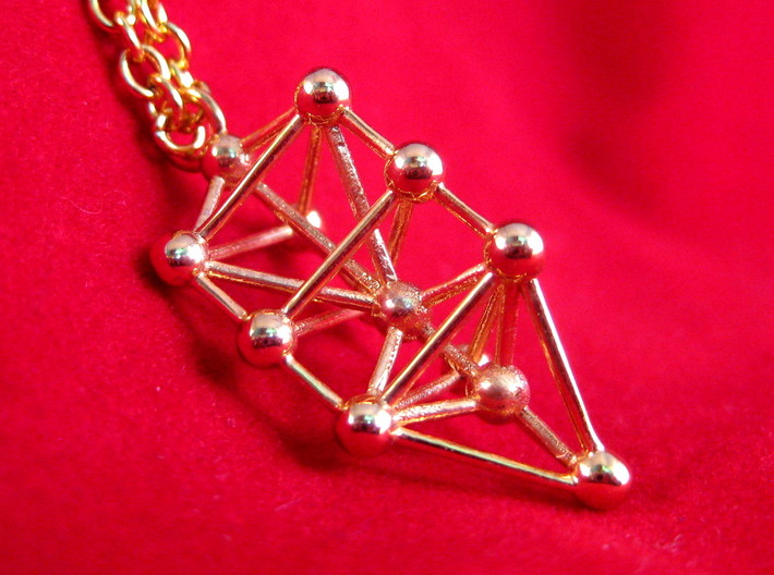 Small Triangular Tree of Life Pendant 3d printed 18k Gold Plated Kabbalistic Tree of Life