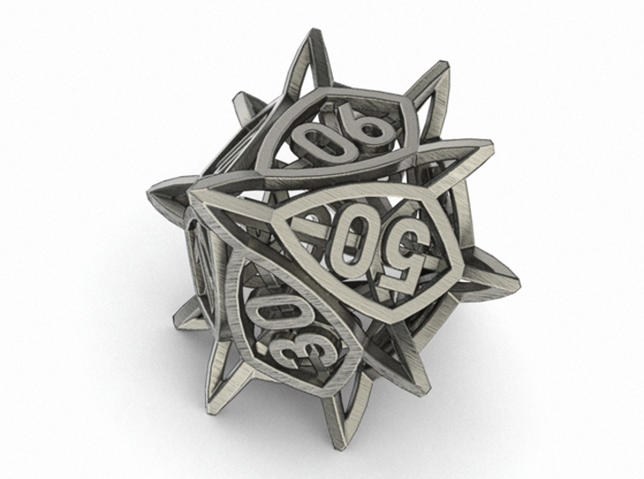 'Center Arc' dice, 10D10 Decader balanced die 3d printed