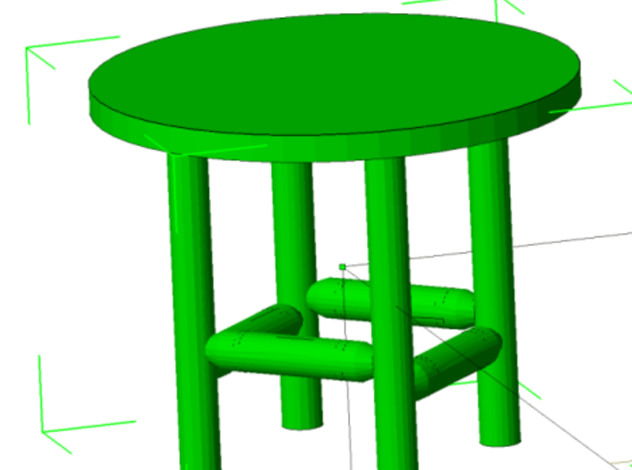 Rustic Chairs, Tables and Bar Stools HO Scale 3d printed Table