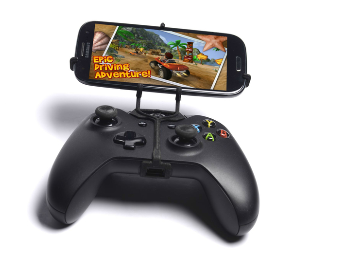 Xbox One controller & HTC Desire 526G+ dual sim  - 3d printed Front View - A Samsung Galaxy S3 and a black Xbox One controller