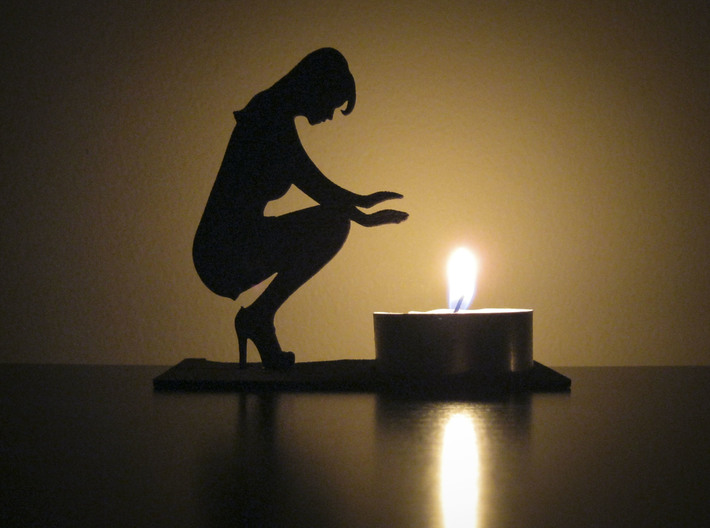 Handwarmer Lady Tea Light 3d printed Shown in Black Strong & Flexible