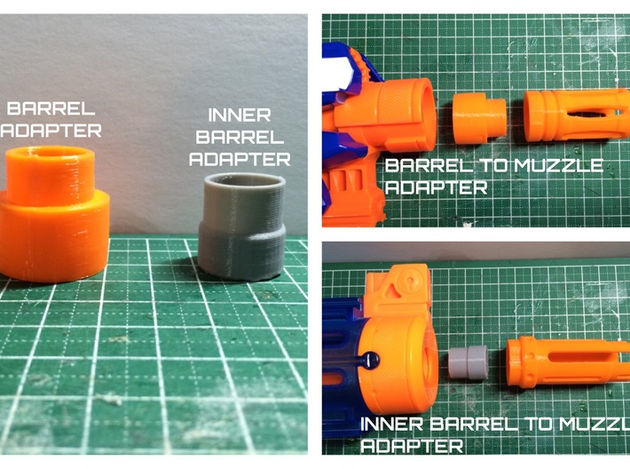 Nerf barrel to muzzle adapter 3d printed