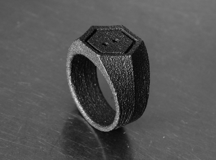 SIGNET RING - 19.5mm US size 9.5 3d printed Photo of ring in matt steel