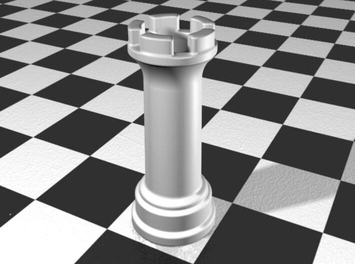 Rook Chess Piece Shot Glass - 30 mL 3d printed Gloss White Porcelain