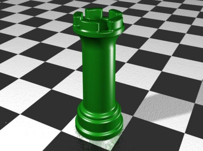 Rook Chess Piece Shot Glass - 30 mL 3d printed Gloss Oribe Green Porcelain