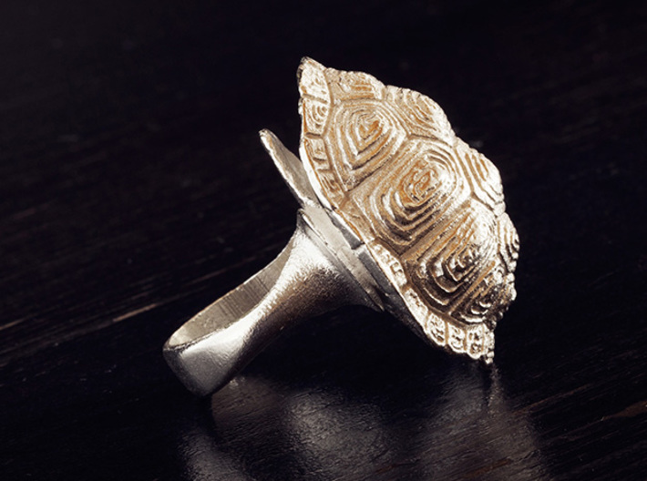 Turtle Shell Ring 3d printed Raw silver