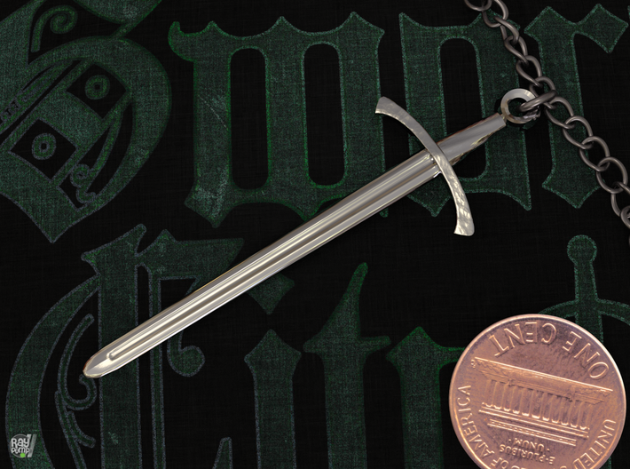 The Footman's Blade - Classic Sword Pendant 3d printed Polished Sterling Silver - Perfect for gifts