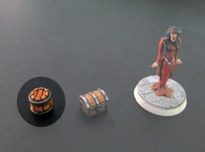 Barrels 10x10mm (10 pcs) 3d printed White Strong Flexible, hand-painted. 28mm mini on the right, for scale.