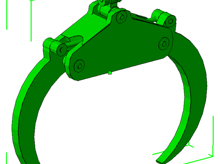 1/64th Scale Log Grapple for skidder or loaders 3d printed How the piece will look assembled.