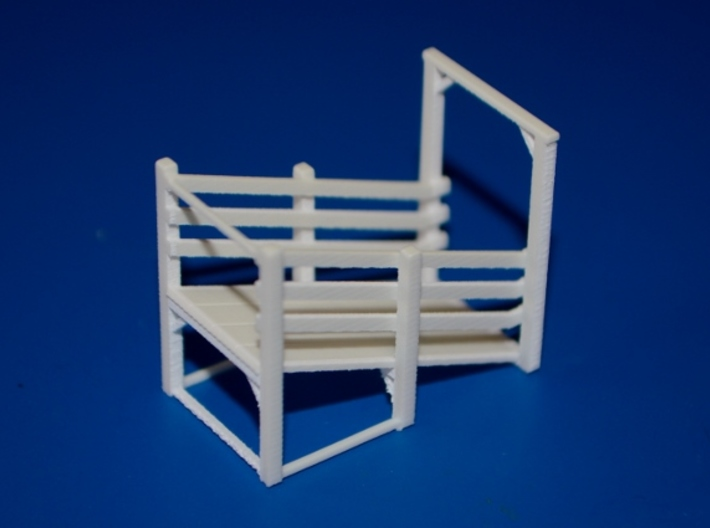 N-Scale Branchline Cattle Pens 3d printed Unpainted Production Photo - Loading Chute