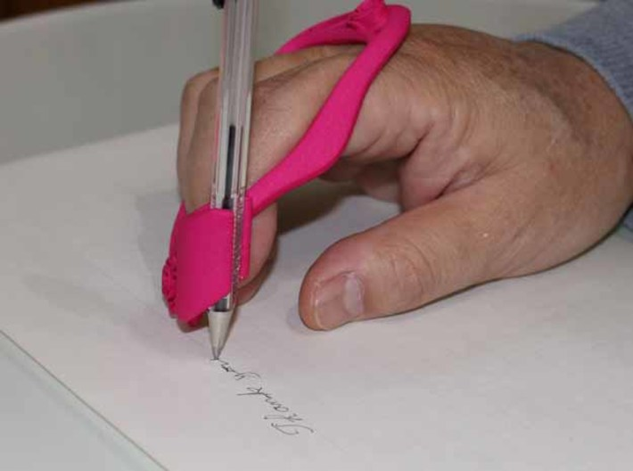 Writing Assist Tool ( for the right hand ) 3d printed Writing methods. Self-help devices. Easy to don and doff.