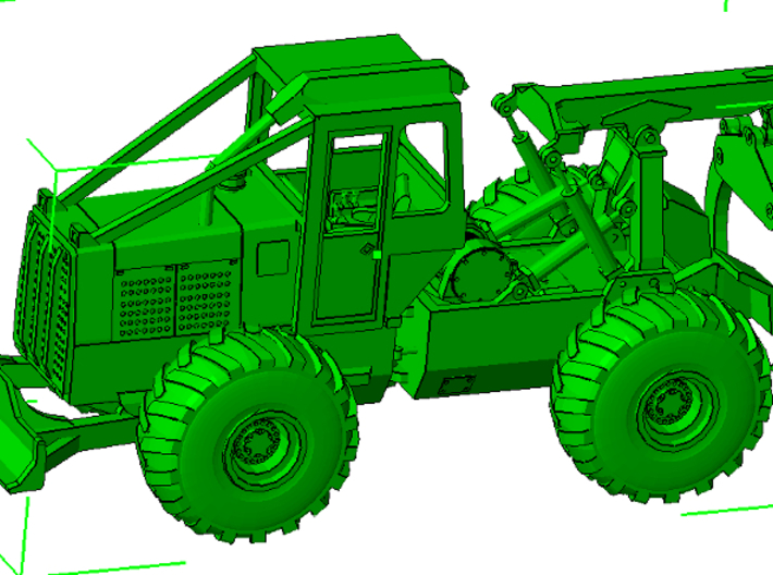 1/87th HO Scale Clark Log Skidder  3d printed As assembled with grapple and tires, both available separately.