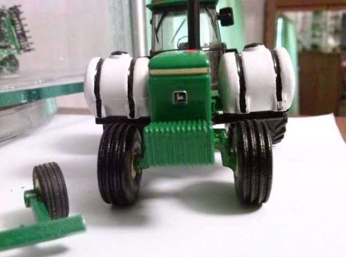 1:64 16.5Lx16.1 4 Rib Tire And Wheel Pair 3d printed As installed on custom tractor