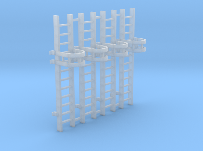 'HO Scale' - (4) 10' Caged Ladder 3d printed