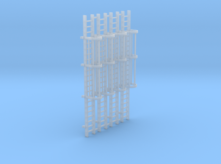 'HO Scale' - (4) 20' Caged Ladder 3d printed