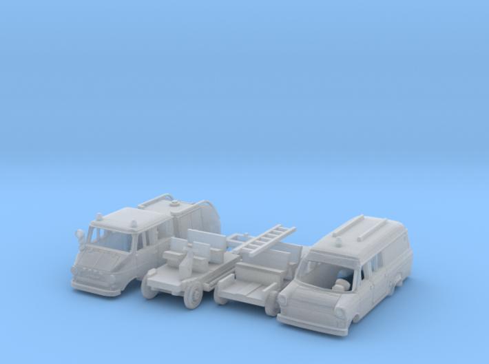 SET 2x Feuerwehr-Fahrzeugen (N 1:160) 3d printed