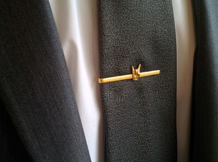 Horns Up Tie Clip 3d printed