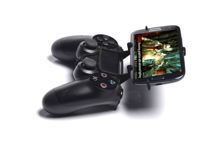 PS4 controller & HTC Desire 620 dual sim 3d printed Side View - A Samsung Galaxy S3 and a black PS4 controller