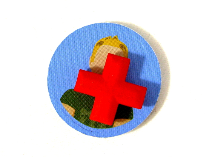 Medical Plus Signs, Set of 3 Tokens for Flash Poin 3d printed Shown on top of a victim marker from the board game