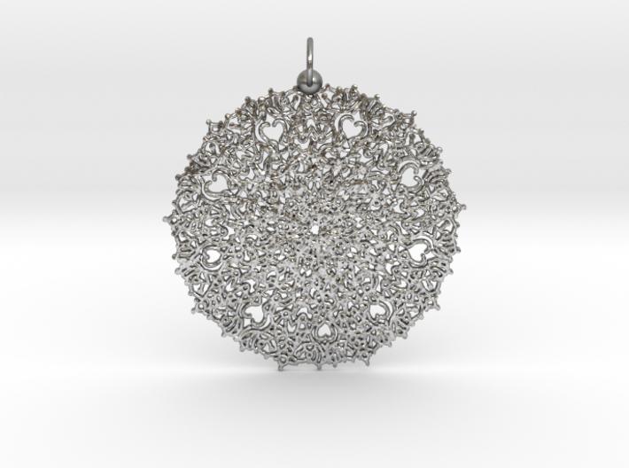Heart Mandala Pendant 3d printed