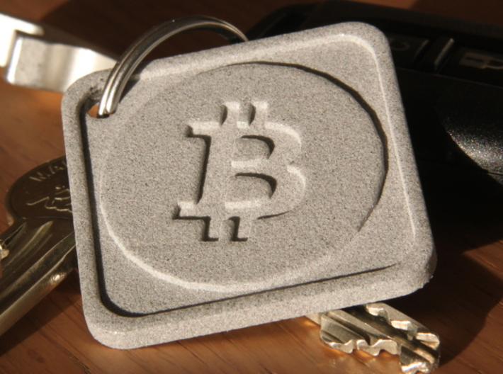 Keychain with Bitcoin Logo 3d printed Front side, Polished Metallic Plastic