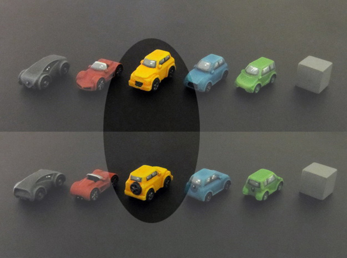 Miniature cars, SUV (8pcs) 3d printed Hand-painted car. 10mm cube on the right for scale.