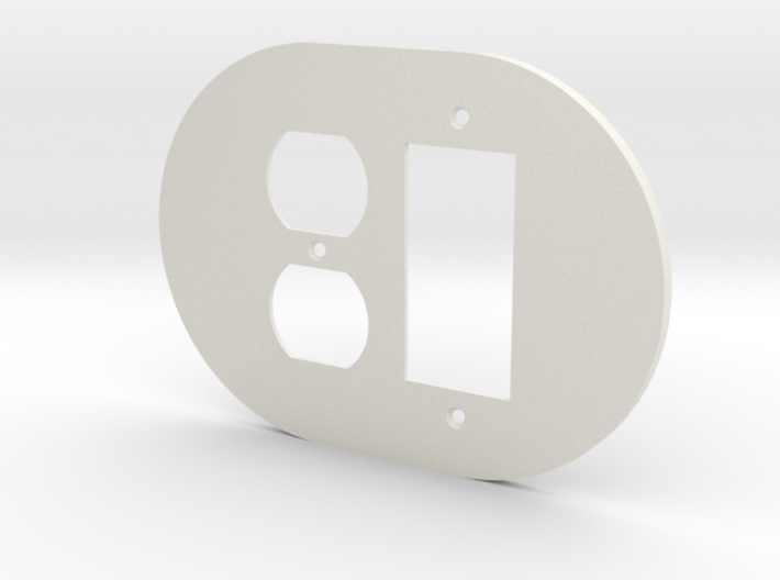 plodes® 2 Gang 1 Duplex Outlet Combo Wall Plate 3d printed