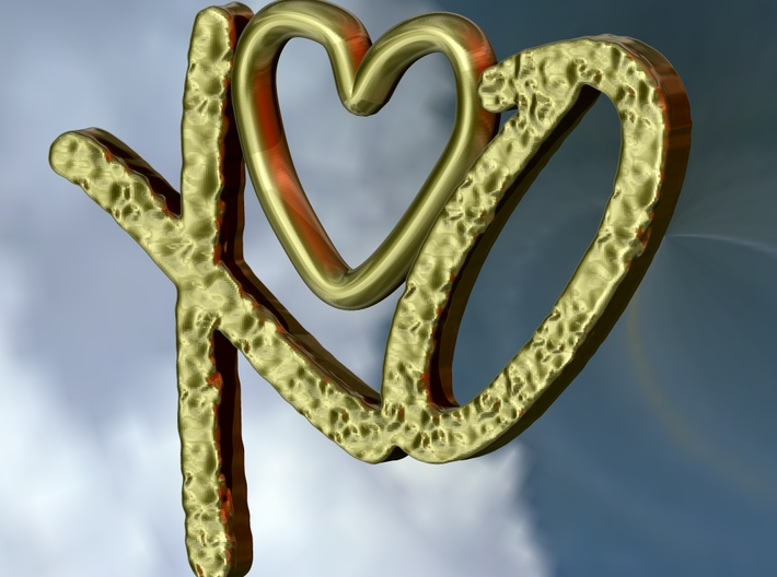 Hug and Kiss Pendant 3d printed Rendered in gold