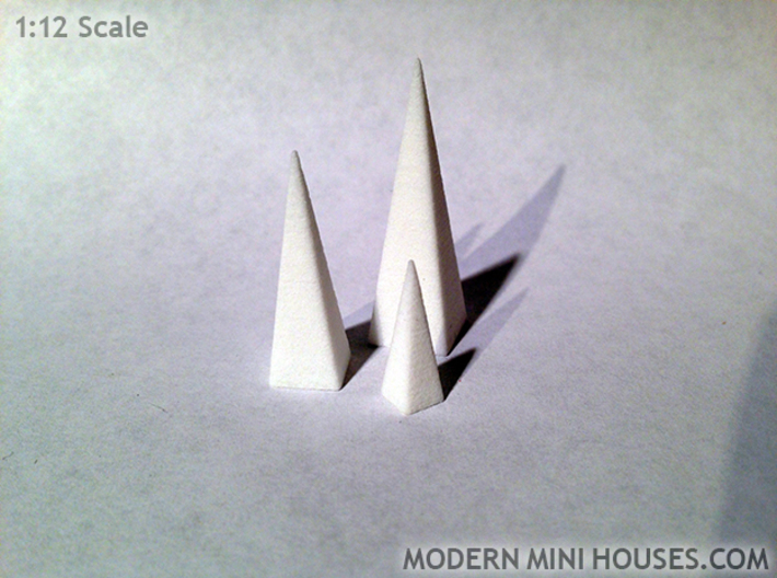 Triple Pyramids 1:12 scale decor 3d printed White Strong & Flexible Polished