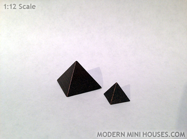 Pyramid Small 3d printed Matte Bronze Steel
