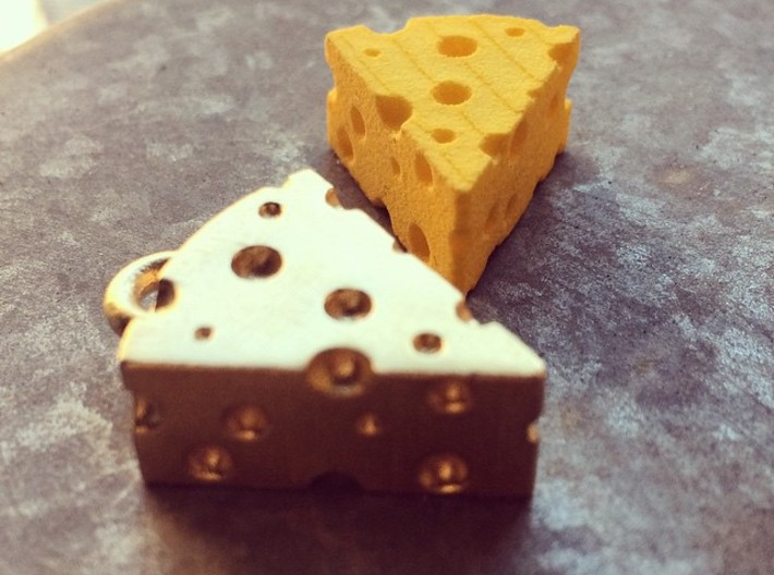Swiss Cheese Pendant 3d printed Yellow Strong and Flexible and Raw Brass