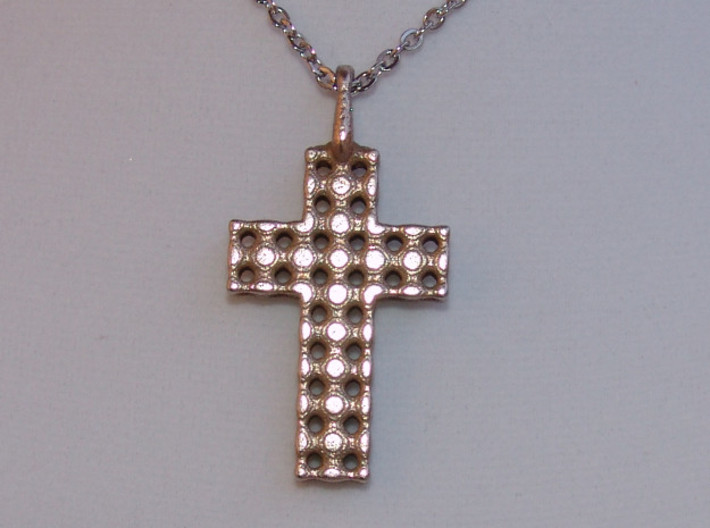 Cross with Depth 3d printed Stainless Steel Cross Pendant - Show with chain. Actual Photo.