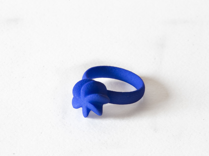 Flora Ring 3d printed Flora Ring in Blue Strong & Flexible