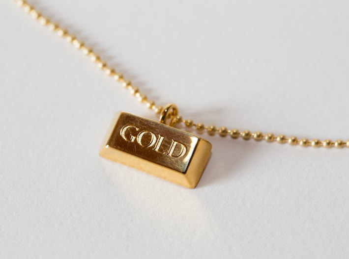 Gold Bar Pendant Necklace 3d printed The Gold Bar pendant necklace printed in Gold Plated Brass