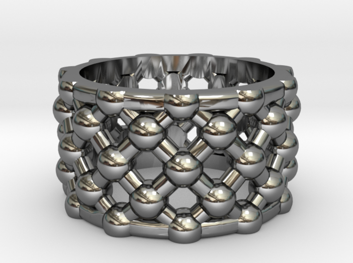 Gold Mesh Ring / Sterling Silver Mesh Ring 3d printed