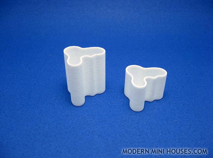 Modern Vase Extra Tall 1:12 scale 3d printed White Strong & Flexible Polished