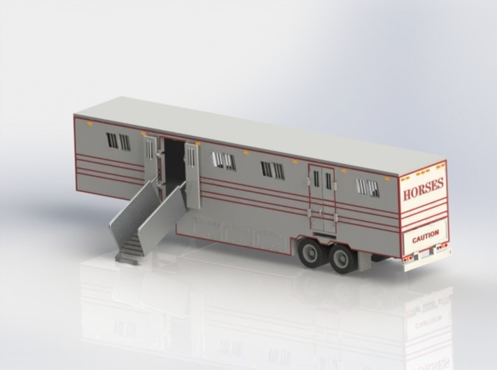 HO 1/87 Horsebox 48' Semi 01 3d printed CAD render showing one ramp fitted.