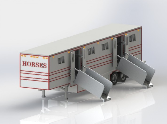 HO 1/87 Horsebox 48' Semi 02 3d printed CAD render. Two ramps are supplied, as well as 8 doors, 8 stall partitions, jockey wheels  & tailgate. The roof is also removeable.