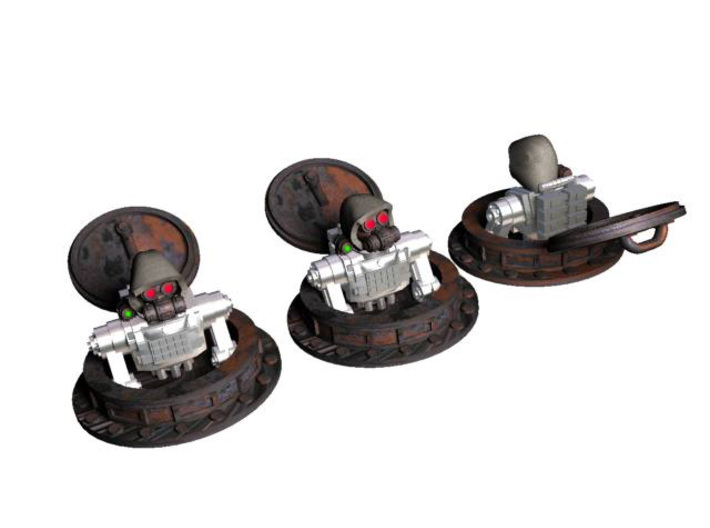 28mm Tank hatches with cyborg cultists 3d printed