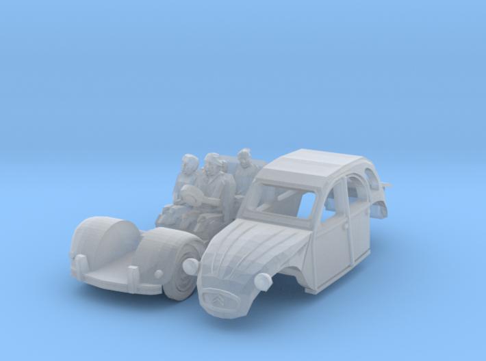Citroën 2CV - family on tour (British N 1:148) 3d printed