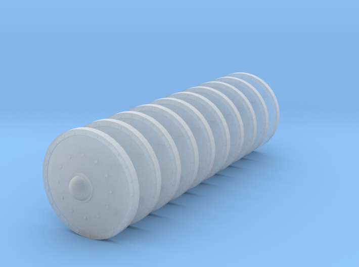 28mm scale round metal shields 3d printed
