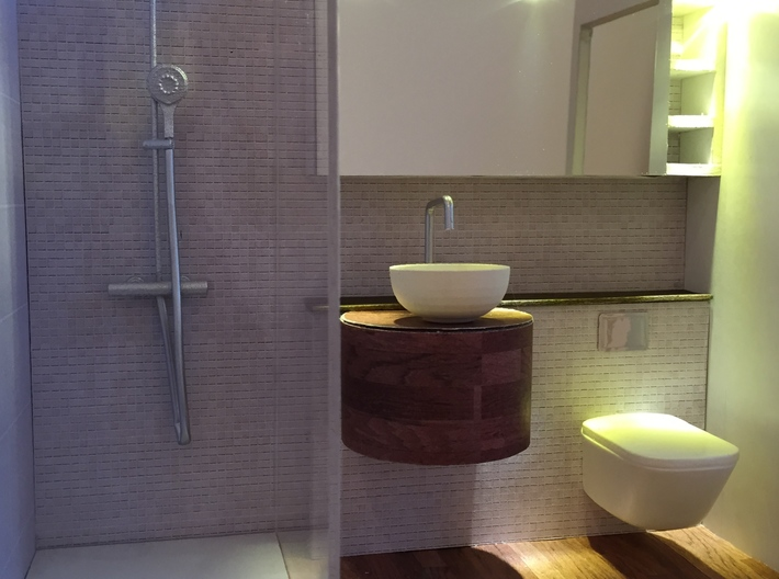 Shower panel round head, 1:12 3d printed Mini bathroom by Marion