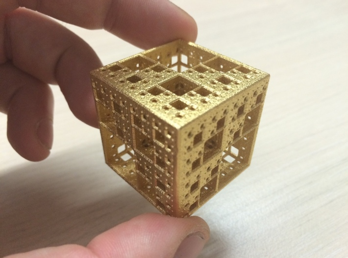 NewMenger Cube 3d printed Polished Gold Steel