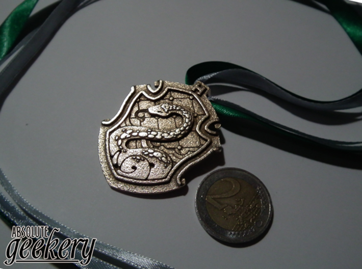 Slytherin House Crest - Pendant SMALL 3d printed Stainless Steel