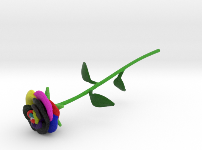 Technicolor Rose Full Color 3d printed