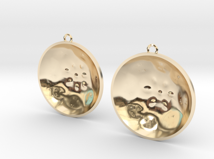 "Double Tenor ""surface"" steelpan earrings, L 3d printed"