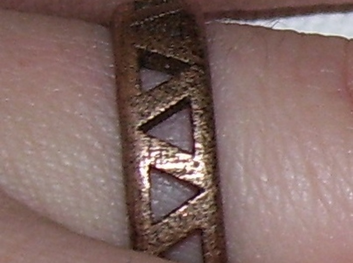Slender Triangle Pattern Ring 3d printed Worn on the finger
